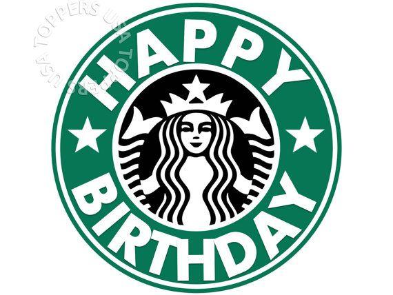 EDIBLE Starbucks Logo Cake Topper Wafer Paper Sheet by.