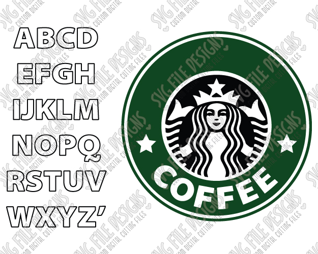 Make Your Own Custom Starbucks Logo Cut File Set in SVG, EPS, and DXF.