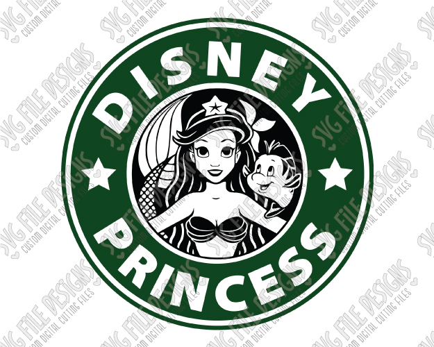 Little Mermaid Disney Princess Starbucks Logo Cut File Set in SVG, EPS,  DXF, JPEG, and PNG.