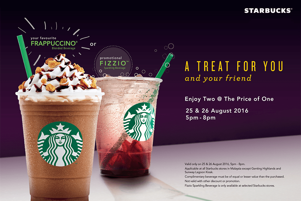 Starbucks: Buy 1 Free 1 With Any Frappuccino or Fizzio.