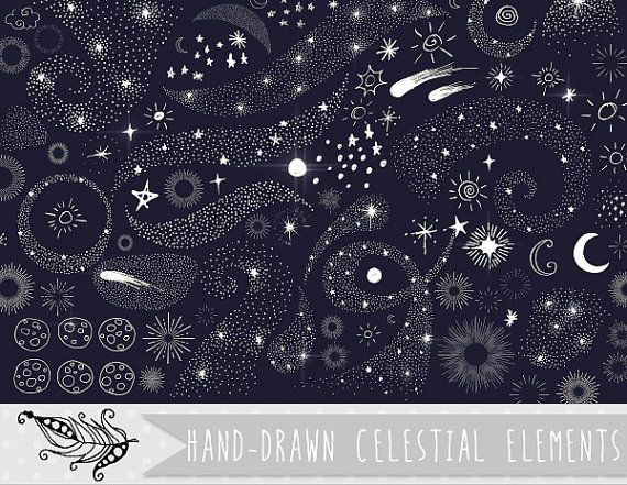 Stardust Clip Art Doodle Stars clipart Celestial Galaxy by.