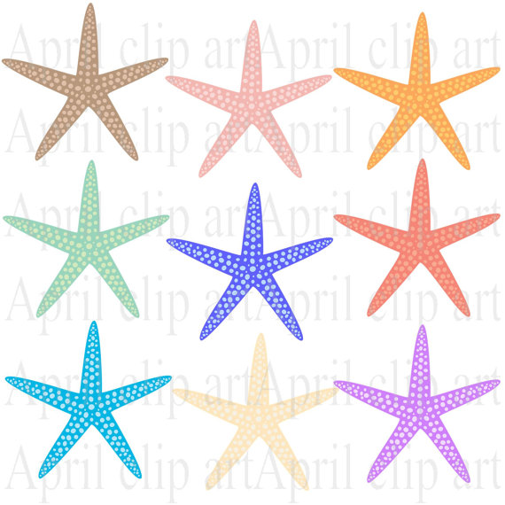 9 Starfish clipart Silhouette Ocean Beach Digital Clip.