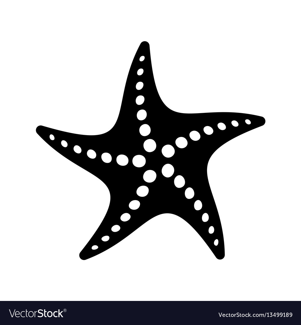 Black simple starfish icon.