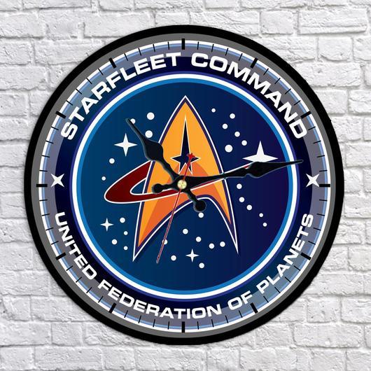 Starfleet Command United Federation of Planets Logo Wall Clock.