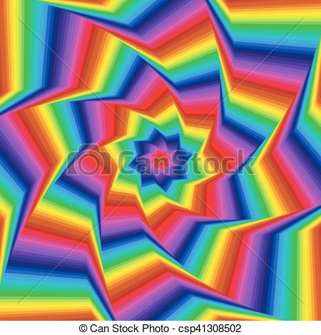 Vector Clipart of Whirling spectrum colors octagonal star forms.