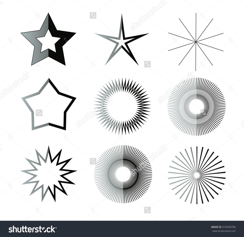 Black White Star Shapes Illustration Set Stock Illustration.