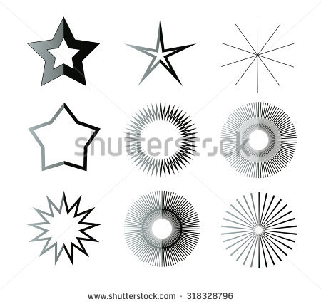 Black And White Star Shapes Illustration Set. Different Star Forms.