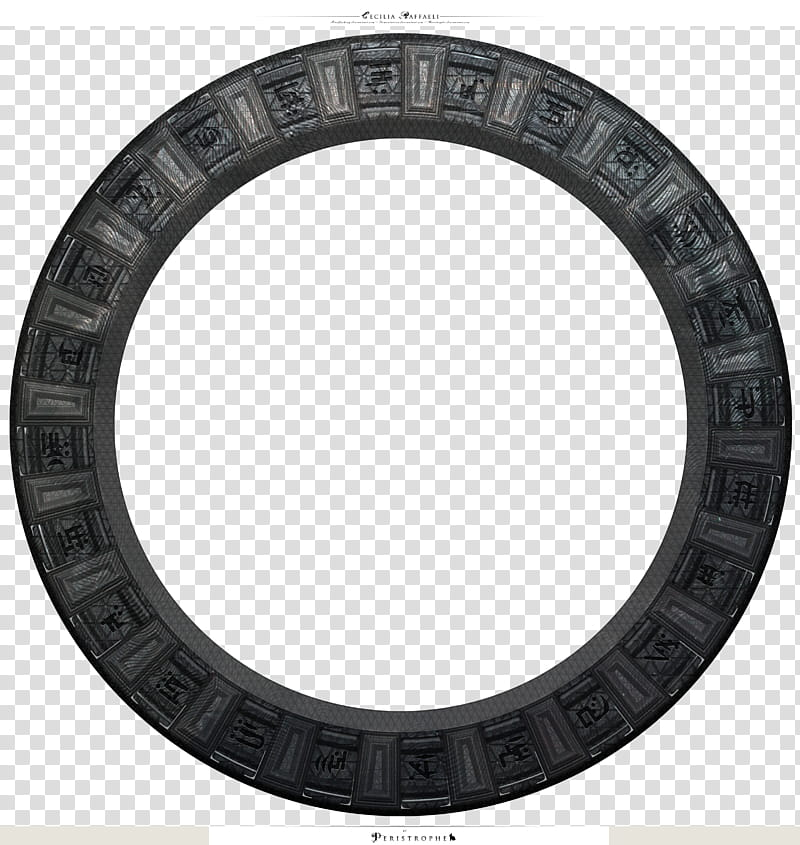 Stargate, round gray and black case transparent background.