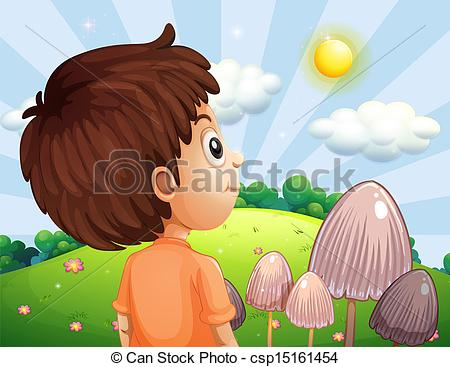 Clipart Vector of A boy looking at the sun.