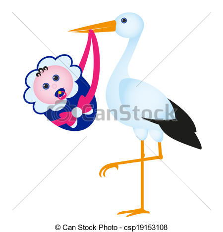 Vector Clipart of stark with baby.