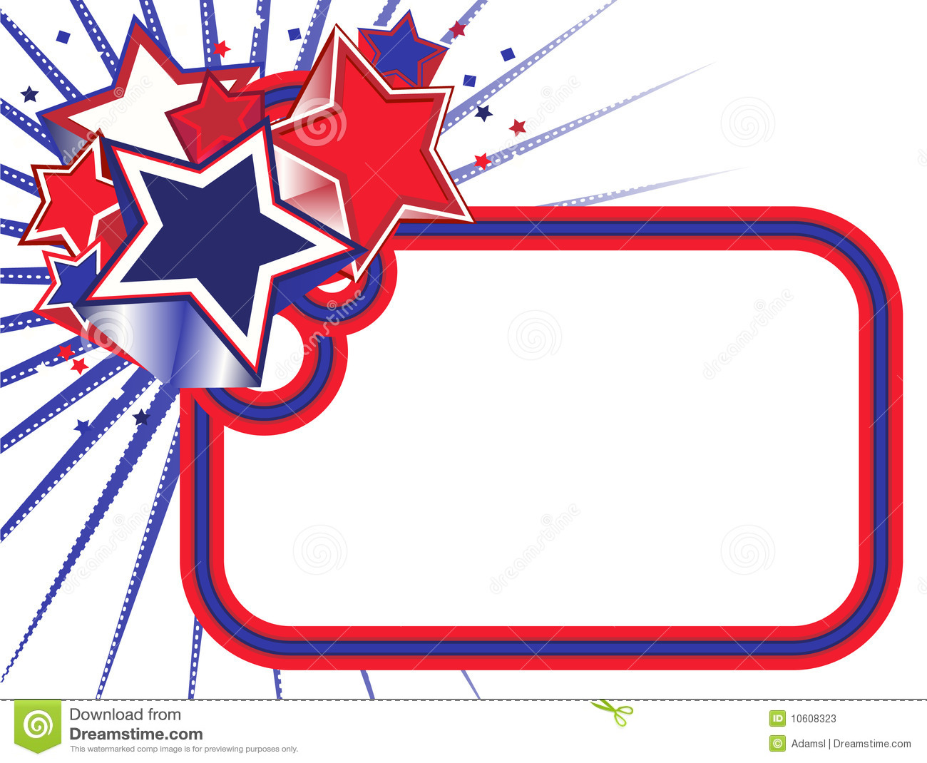 Red White And Blue Stars Banner Clipart.
