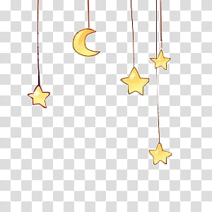 S, yellow moon and star illustration transparent background.