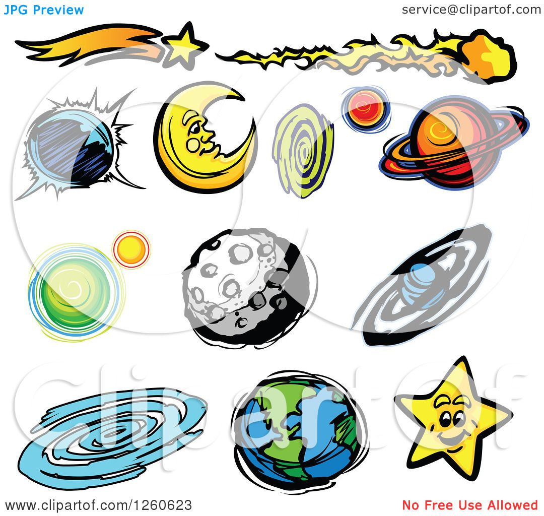 Clipart of a Moon Earth Planets and Stars.