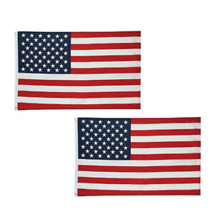 Details about 2Pcs 3x5 ft American Flag United States of America Stars and  Stripes Banner Fast.