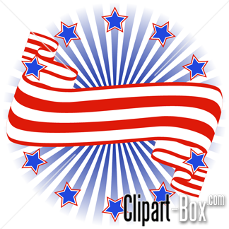 CLIPART STARS AND STRIPES BANNER.