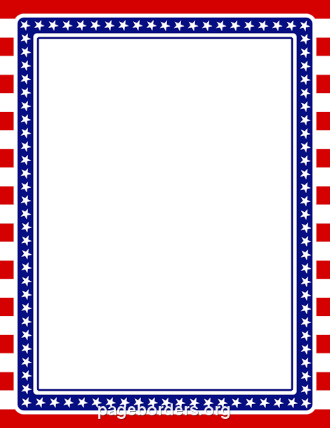 Stars and Stripes Border: Clip Art, Page Border, and Vector.