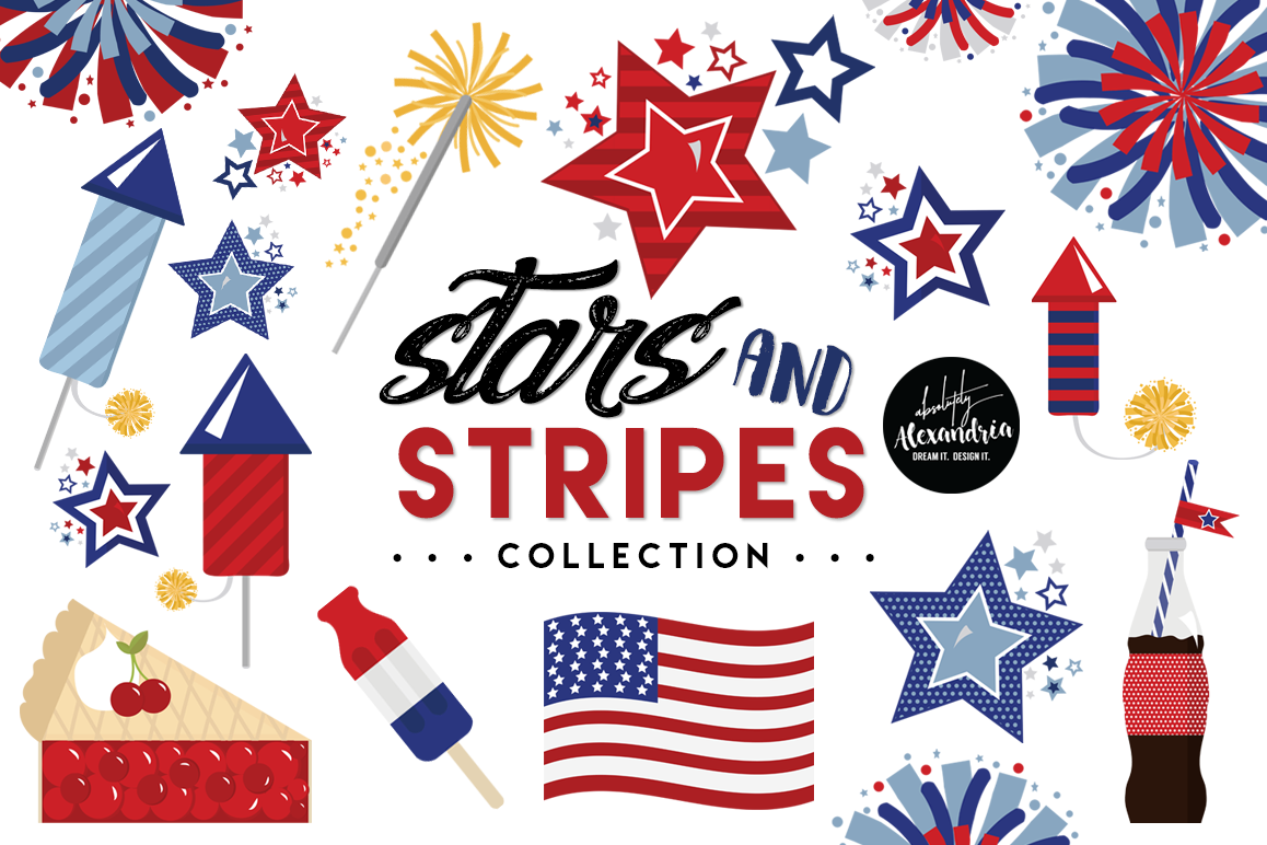 Stars & Stripes Clipart Graphics & Digital Paper Patterns Bundle.