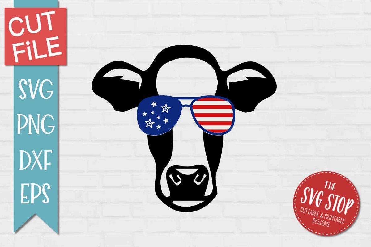 Cow Face Stars & Stripes Glasses.