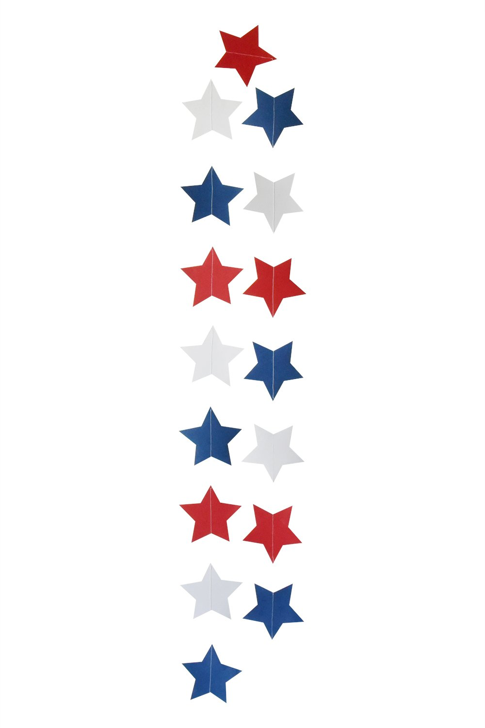 2 PCS Blue Red White Paper Star Garland Banner 4th of July Decorations  Patriotic Decoration.