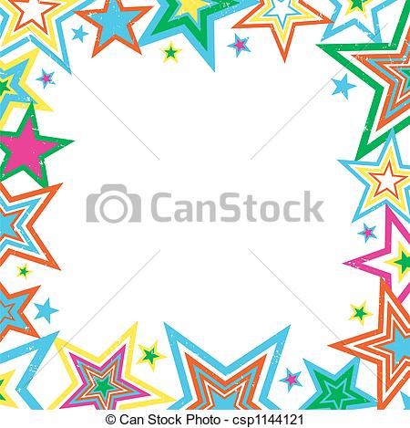 Clipart of Distressed Stars Border.