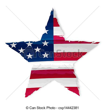 Stock Illustration of star in USA flag drawing.