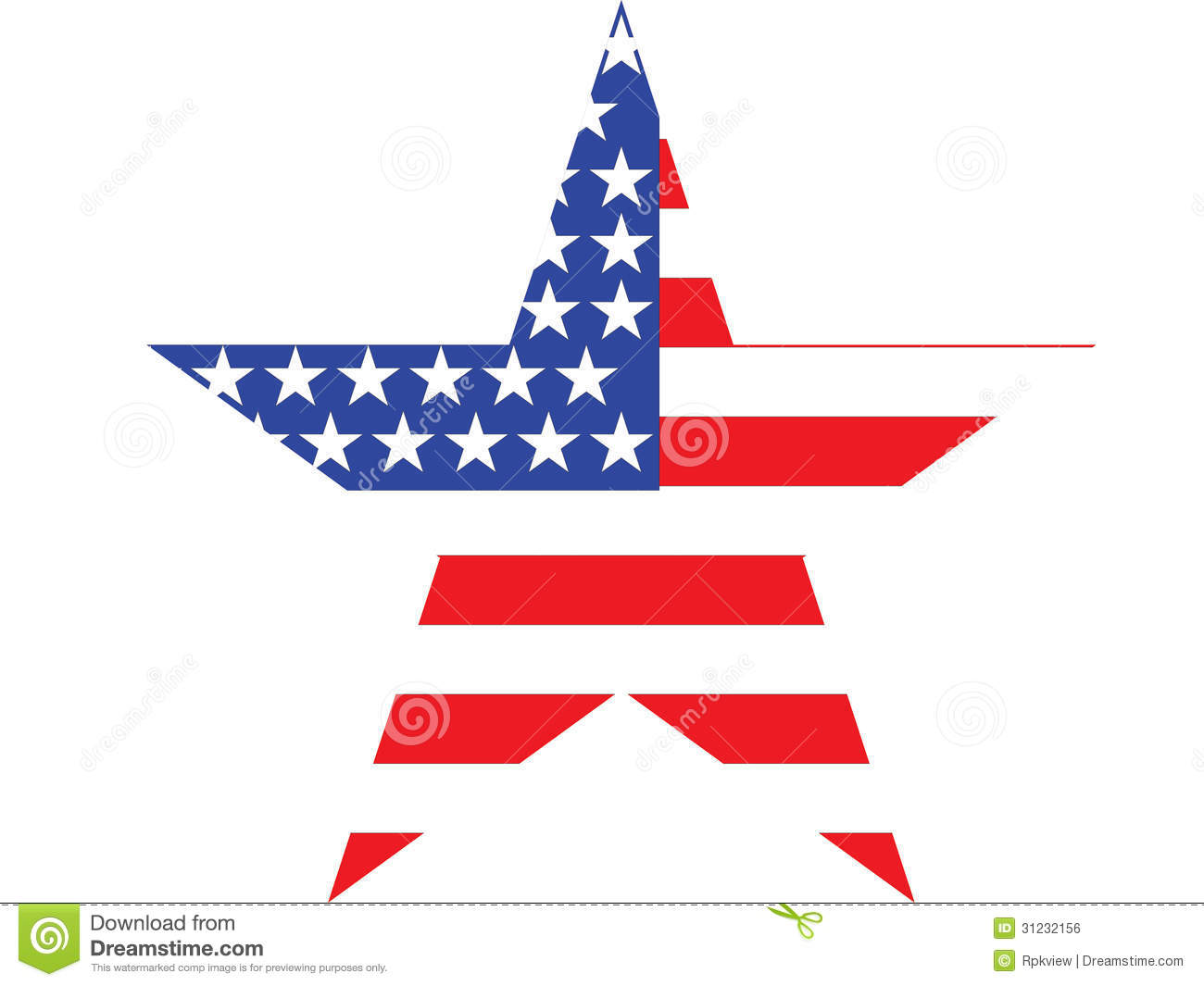 Big Star American Flag On White Background Royalty Free Stock.