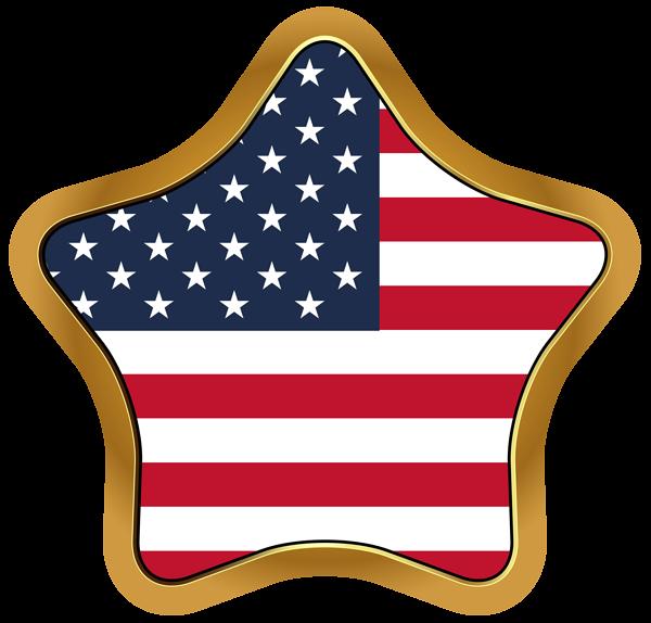 USA Flag Star PNG Clip Art Image.