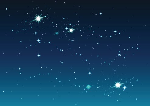 Night starry sky. Stars and space Clipart Image.