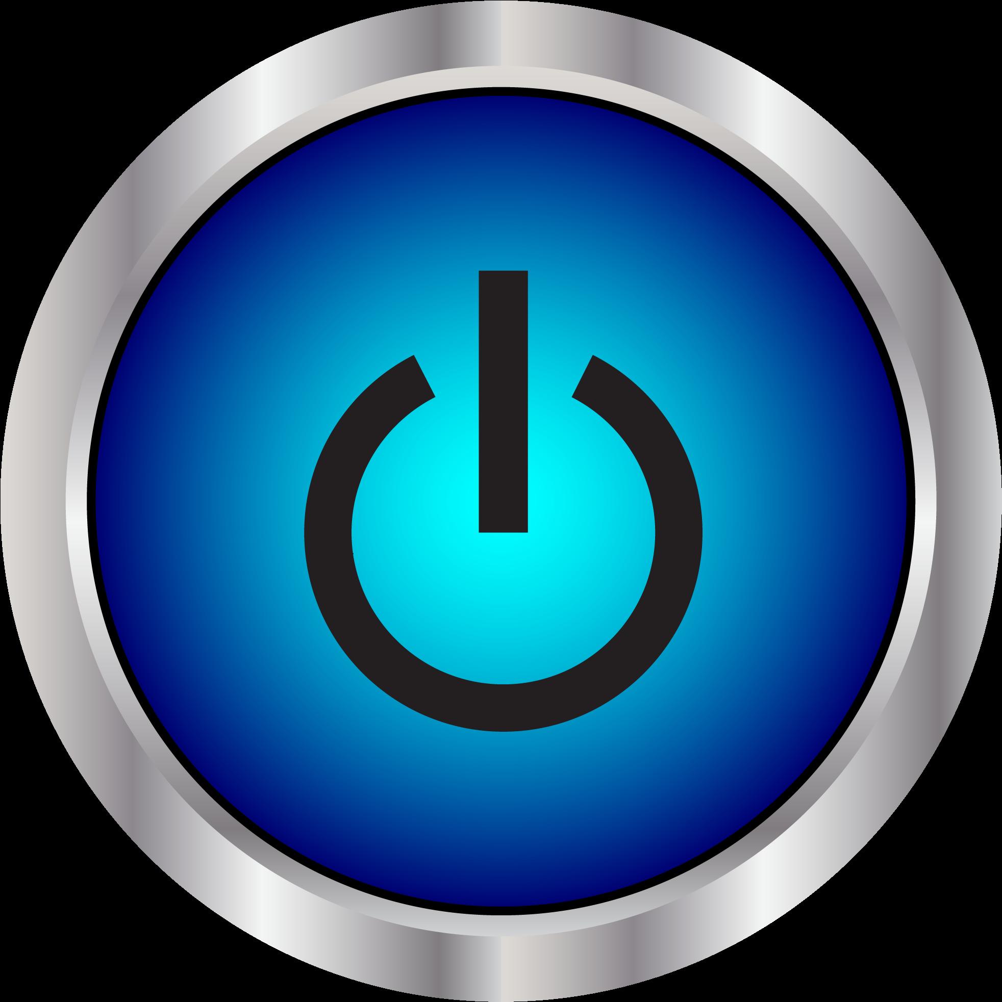 Big Image Blue Power Button Icon.