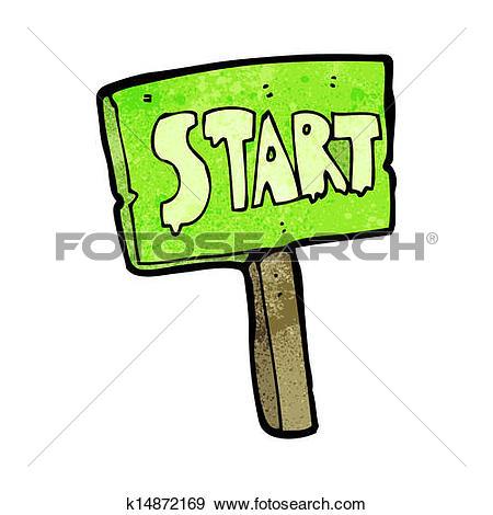 Clipart of cartoon race start sign k14872182.