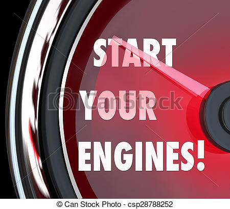 Stock Images of Start Your Engines Speedometer Begin Race.