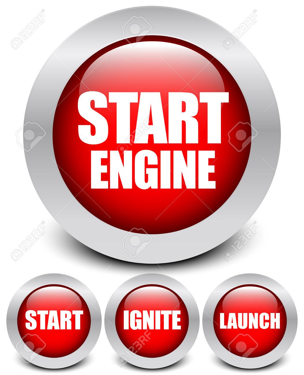Button Set: Start Engine, Start, Ignite, Launch. Royalty Free.