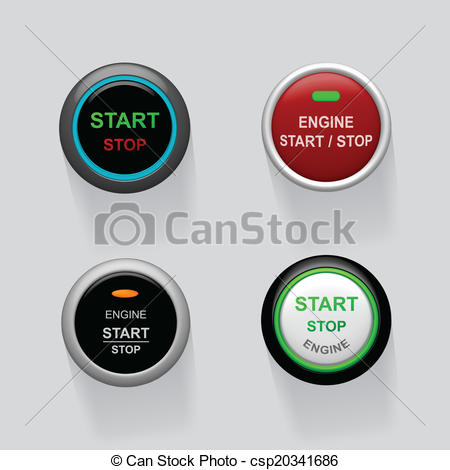 Vector of start stop engine buttons.