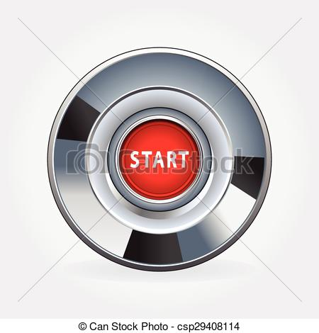 Vector Clip Art of Start engine button on a white background with.