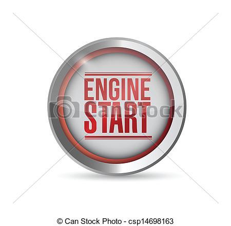 Clip Art Vector of red Start engine button. illustration design.