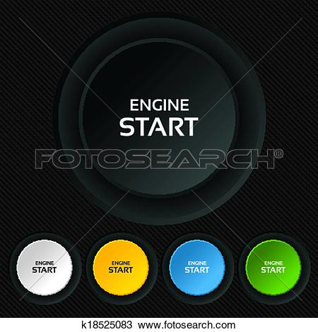 Clipart of Start engine sign icon. Power button. k18525083.