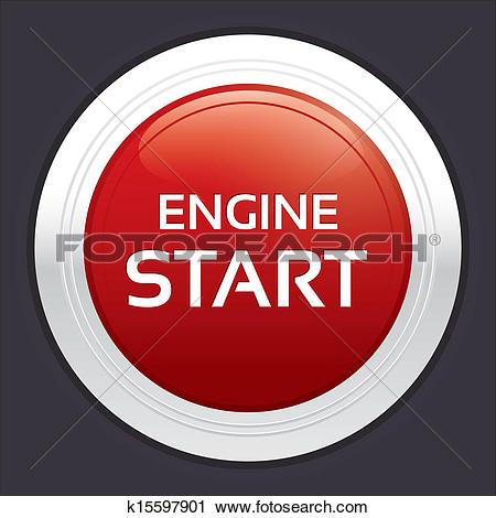 Clipart of Start engine button. Red round sticker. k15597901.