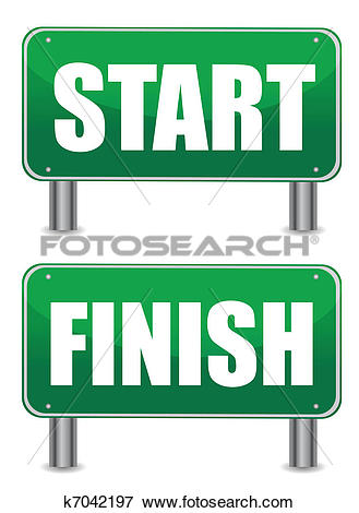 Clip Art of start finish illustration banners k7042197.