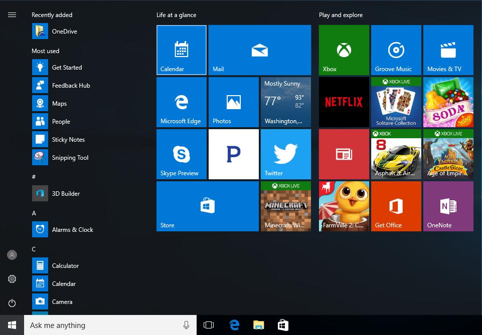 Windows 10 Start Menu Clipart.