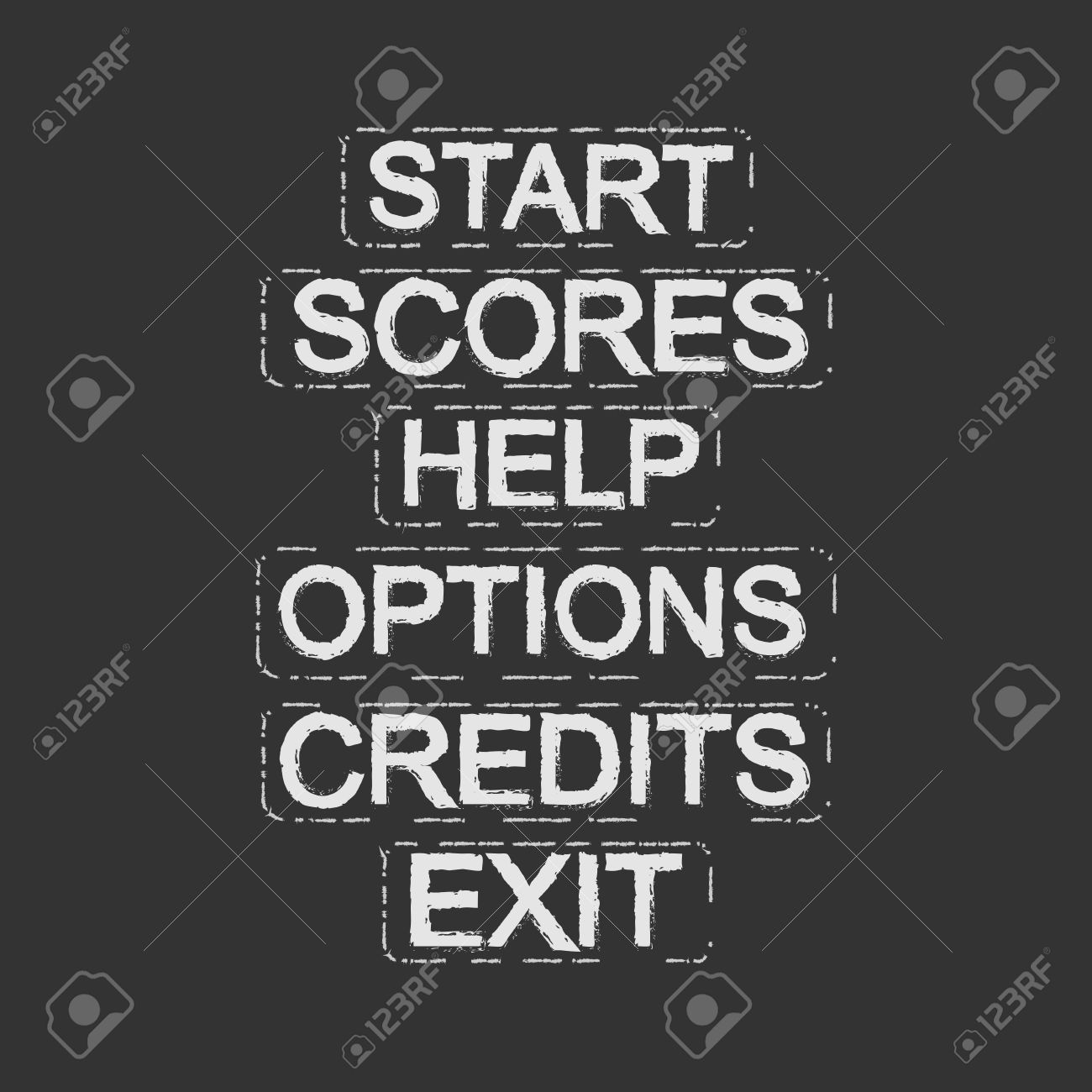 Set Of Video Game Menu Resources Buttons: Start, Scores, Help.