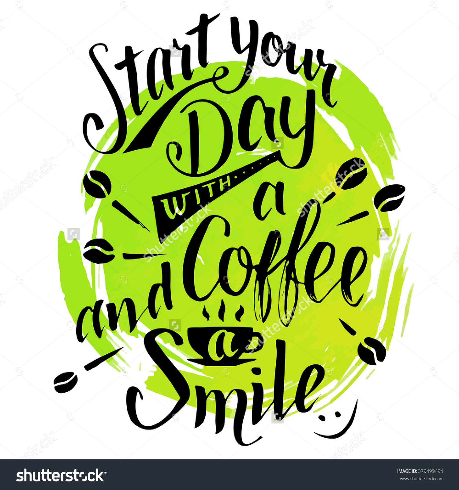 Start Your Day Coffee Smile Modern Stock Vector 379499494.