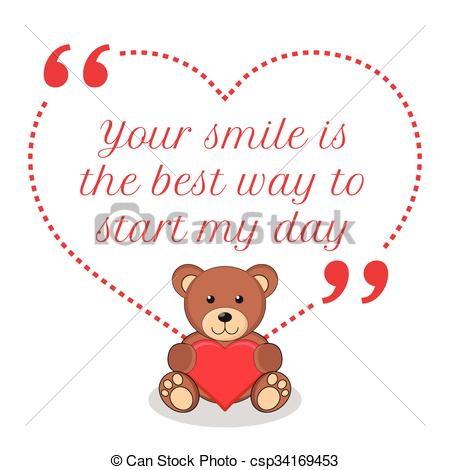 Clipart Vector of Inspirational love quote. Your smile is best way.