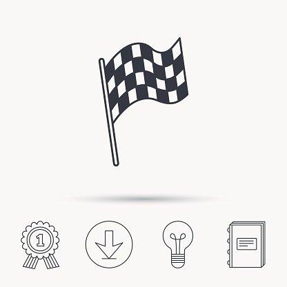 Finish flag icon. Start race sign. Clipart Image.