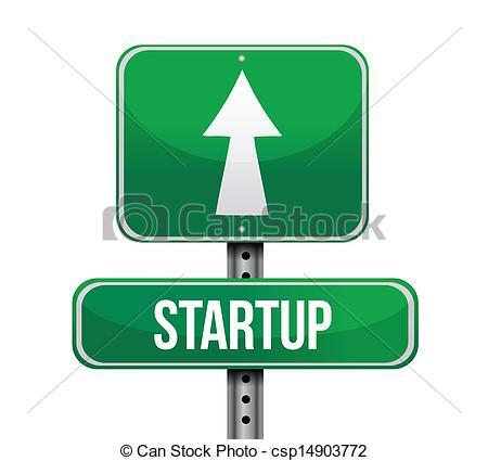 Vectors Illustration of startup road sign illustration design over.