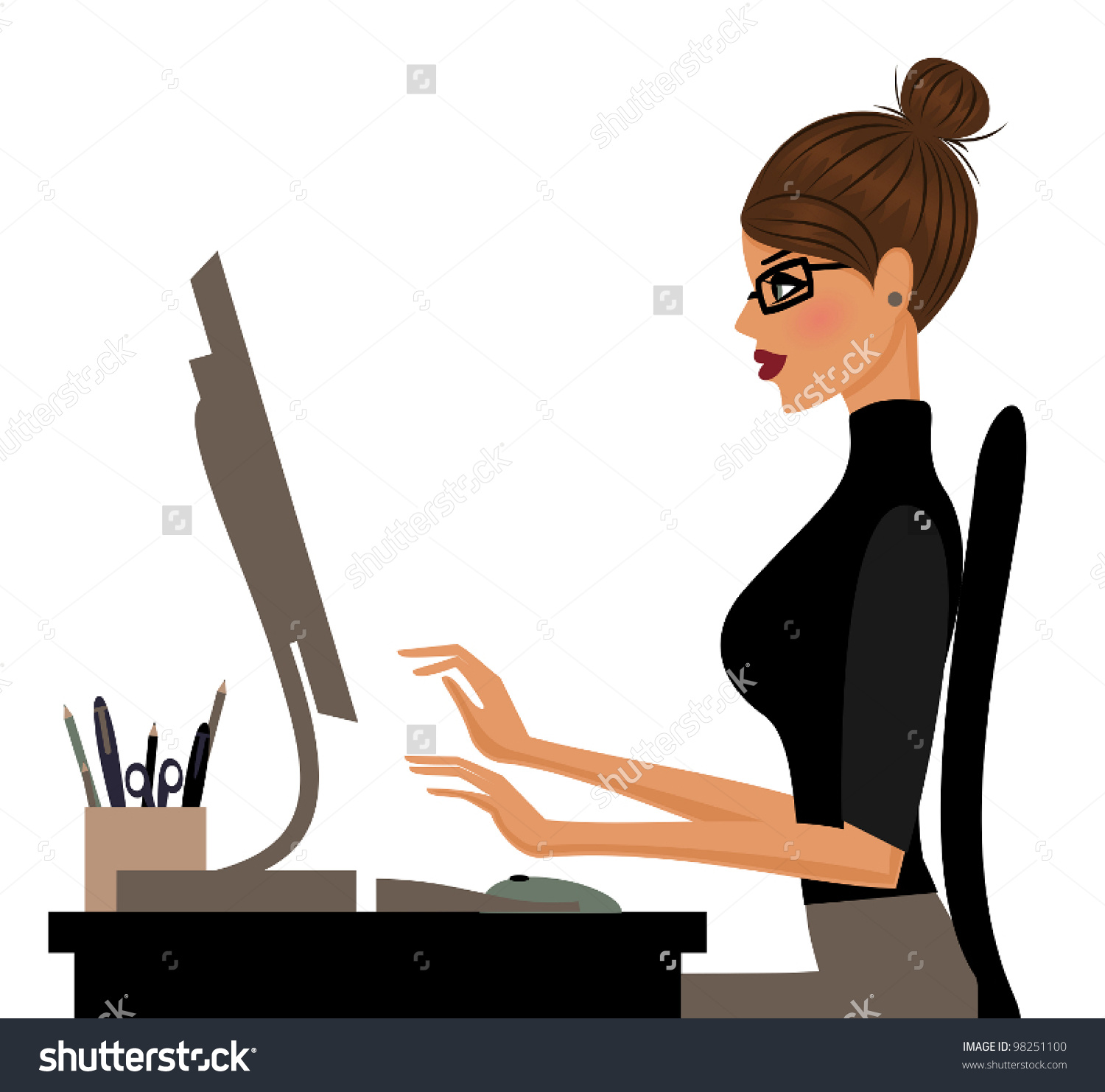 Illustration Young Woman Working On Computer Stock Vector 98251100.