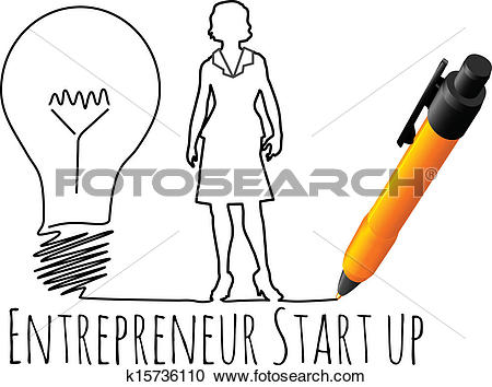 Clipart of Female entrepreneur business start up k15736110.