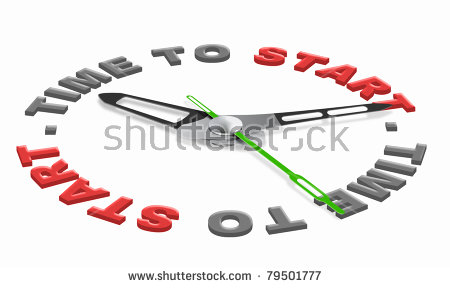 Time To Start Starting Business Or Work Isolated Clock Indicating.