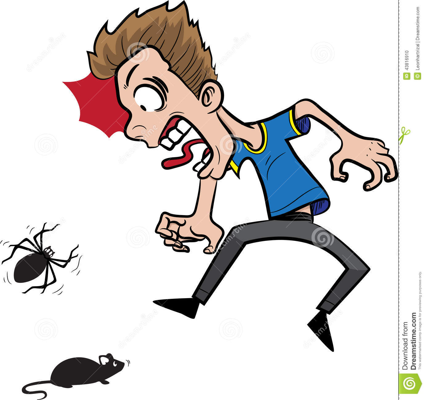 Scared of spiders clipart.