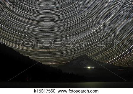 Stock Photography of Star Trails Over Mount Hood k15317560.