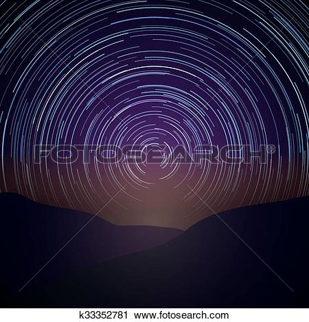 Clipart of Night sky with star trails. Vector Milky Way background.